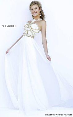 Ivory Sherri Hill 9739 Beaded Chiffon Evening Gown