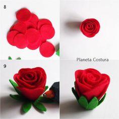 Rosa de feltro tutorial    Faça lindas rosas em feltro rápida com esse tutorial bem simples. #flor #rosa #flores #tutorial #passoapasso #comofazer  #molde #feltro #artesanato #decoracao #manualidades #fieltro #eimeninas #padroes #patrones #plantillas #patterns #felt #crafts #handmade #moldes #diy #make #artes #art