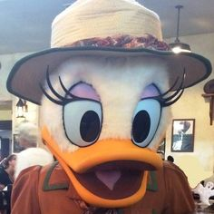 Daisy Duck at the Tusker House Restaurant in Disney's Animal Kingdom park at Disney World. This restaurant now has classic Disney characters at breakfast, lunch, and dinner!