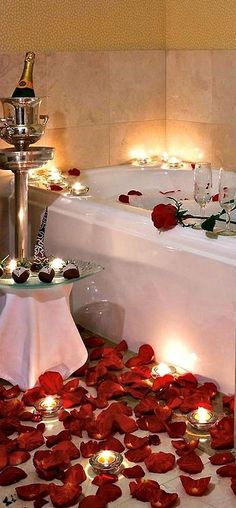 some of my favorites: candlelit bubble-bath, roses and champagne...i can almost hear my favorite music playing in the background