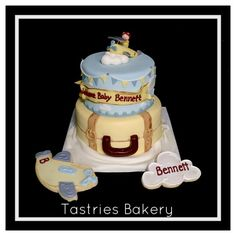 Pack your bags! It's time to watch little Bennett take flight. Welcome your baby with a cute custom cake and matching cookies from Tastries Bakery!