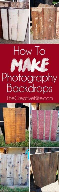 Learn How wto Make DIY Wooden Photography Backdrops for your food or product photos. These dual sided photography backgrounds are an affordable option made from salvaged barn wood that look beautiful and resist stains. Photoshop, Lightroom, Food Photography Props, Photography Lessons, Amazing Photography, Party Photography, Diy Backdrop Photography, Children Photography, Photography Studio Decor