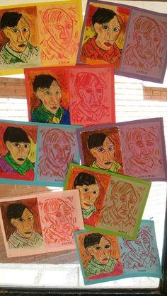 Con papel de acetsto y calcando la imagen de Picasso.