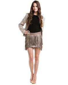 Matthew Williamson Stone Leather Fringed Skirt