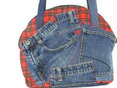 Tasche halbrund Recycling Jeans rot kariert