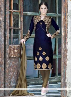 Amazing Blue Resham Embroidered Churidar Suit