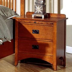 Mission Craftsman Oak 2 Drawer Nightstand