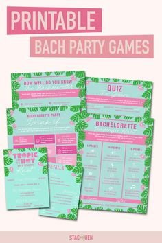 It's not a bachelorette weekend without a few fun games to get the party started! We created four classic and fun tropical-themed bachelorette party activities the entire bride squad will love. Choose from a Bachelorette Party Scavenger Hunt, Drink If Drinking Game, Groom Quiz, Bridal Trivia or purchase the bundle to save! Pair with matching tropical bachelorette party invitations, cups, coozies and shirts from our Tropic Like It's Hot Bachelorette Party Collection to complete the theme. Bachelorette Party Scavenger Hunt, Bachelorette Party Activities, Bachelorette Party Drinks, Bachelorette Party Invitations, Bachelorette Weekend, Shower Invitations, Lingerie Shower Games, Bridal Shower Games, Engagement Party Decorations