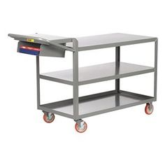 Order Picking Truck, 3 Shelf, 36x24, Gray by Little Giant. $481.67. Order Picking Truck, Flush Shelves, Load Capacity 1200 lb., Welded Steel Construction, Gauge Thickness 12, Powder Coat Finish, Color Gray, Overall Length 52 In., Overall Width 24 In., Overall Height 39 In., Number of Shelves 3, Caster Size 5 In., Caster Type 2 Rigid, 2 Swivel With Brake, Caster Material Polyurethane, Capacity per Shelf 600 lb., Distance Between Shelves 11-3/4 In., Shelf Length 36 In., ...