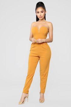No Ordinary Night Jumpsuit - Cognac – Fashion Nova Sexy Outfits, Cute Outfits, Work Outfits, Fashion Nova Jumpsuit, Fashion Nova Models, Looks Style, Active Wear For Women, Cropped Hoodie, Skinny Legs