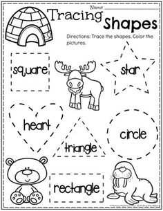 Preschool Shapes Tracing - Polar Animals Theme Looking for fun Arctic Animals Activities? Learn about Arctic Animals and their Traits as well as working on counting, shapes and letters and tracing. Shape Worksheets For Preschool, Shapes Worksheets, Tracing Worksheets, Preschool Lessons, Preschool Learning, Preschool Shapes, Teaching, Kindergarten Shapes, Learning Games