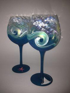 Beachy Glass Hawaiian Waves hand-painted on iridescent wineglasses by ParadiseBytheGlass, $42.00