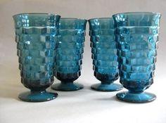 vintage+indian+blue+drinking+glasses | vintage royal blue drinking glasses or goblets, Indiana Glass ...