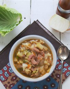 Ham and Cabbage soup is a homey and comforting dish that has been passed down for generations. This soup recipe is easy and delicious way to use a hambone Chili Recipes, Soup Recipes, Cooking Recipes, Healthy Recipes, Ham Recipes, Whole30 Recipes, Drink Recipes, Yummy Recipes, Dinner Recipes