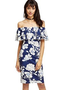 b45b721566e8 Amazon.com  Floerns Women s Floral Ruffle Off Shoulder Party Sexy Bodycon  Dress  Clothing