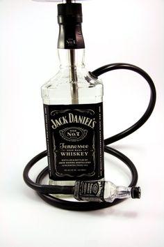Jack Daniel's SMALL 750ML Glass Bottle Shisha Hookah With Matching Mini Jack Hose, Tray, and Bowl