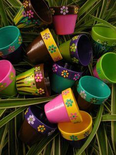 Pequeñas macetas pintadas - Set de 20 - flor olla favores de partido: