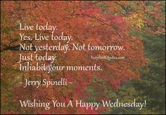 Live today.  Yes. Live today. Not yesterday. Not tomorrow. Just today.  Inhabit your moments.  ~ Jerry Spinelli ~