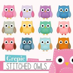 Stitched digital clipart STITCHED OWLS by Grepic #stitched #clipart #sewing #owls #birds #scrapbooking
