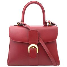 Delvaux Brillant MM Dark Red | From a collection of rare vintage top handle bags at https://www.1stdibs.com/fashion/handbags-purses-bags/top-handle-bags/