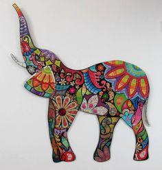 Mosaic Art Projects, Mosaic Crafts, Mandala Drawing, Mandala Art, Elefante Tattoo, Elephant Coloring Page, Elephant Illustration, Creative Arts And Crafts, Horseshoe Crafts