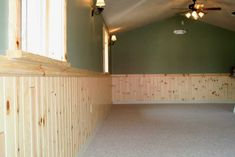 Wainscoting Styles | egular 1x4 Pine Paneling- Wainscoting w/2x4 colonial chair-rail