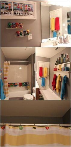 50 Cute And Striking Kids Bathroom Decor For Fun Bathing Hours Super Hero Theme Kids Badezimmer Dekor Boys Bathroom Decor, Modern Bathroom, Bathroom For Kids, Bathroom Theme Ideas, Kid Bathrooms, Decorating Bathrooms, Bathroom Designs, Superhero Bathroom, Kids Decor