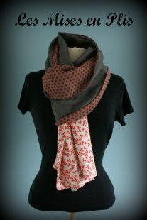 Etole - foulard Lin gris et Pois rouge   Echarpe, foulard, cravate par  lesmisesenplis 48019490316