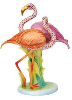"Herend Porcelain Hand Painted Figurine ""Flamingo Duet"" Multicolor Gold Accents."