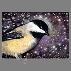 Chickadee Bird Art By Melody Lea Lamb ACEO Print by MelodyLeaLamb (Art & Collectibles, Prints, Giclee, giclee, miniature art, colorful, realistic, charming, melody lea lamb, small art, bird, avian, free shipping, colorful gift, aceo, chickadee)