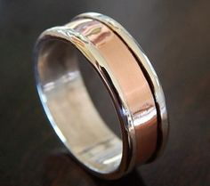 Rugged Silver & Copper Wedding Band: sterling // Unique Artisan Design // Silver Ring // Handcrafted in Half Sizes for a Custom Fit.