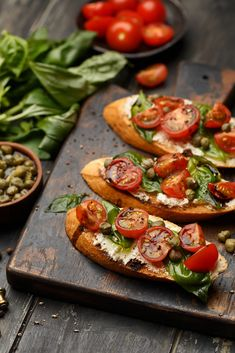 : Bruschetta with toasty little crostini's is one of those wonderful antipasti dishes that we have all had in many places. Easy to make and easy to eat. Vegetarian Recipes, Cooking Recipes, Healthy Recipes, Brunch, Good Food, Yummy Food, Food Platters, Italian Recipes, Food Inspiration
