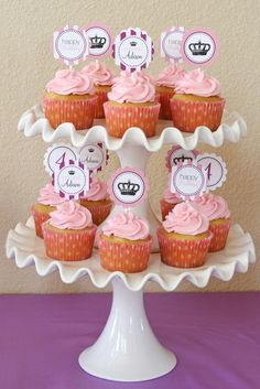 Pink Princess Cupcakes    Pink cupcakes as part of a dessert table for a princess birthday party by Glorious Treats Mary Birthday, 1st Birthday Themes, Princess Birthday, 1st Birthday Parties, Princess Party, Birthday Celebrations, 40th Birthday, Birthday Ideas, Princess Cupcakes