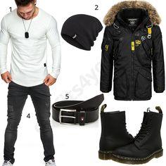 Schwarzes Herren-Outfit mit weißem Longsleeve (m0703) #outfit #style #herrenmode #männermode #fashion #menswear #herren #männer #mode #menstyle #mensfashion #menswear #inspiration #cloth #ootd #herrenoutfit #männeroutfit