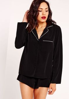 Missguided - Contrast Piping Pyjama Set Black