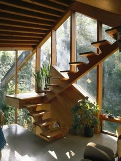 inspiration stairs and stairways floating stairs home and interior inspo and inspiration spaces via The Timeless Appeal of John Lautner s Walstrom House - Page 2 of 2 - Cabin Obsession Interior Exterior, Exterior Design, Home Interior Design, Interior Architecture, Modern Interior, Interior Shop, Interior Office, Interior Colors, Interior Plants