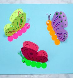 Butterfly Crafts for Preschoolers - great summer crafts for kindergarten and up. love these adorable Butterfly Activities crafts for kids 35 Butterfly Crafts - Red Ted Art Paper Butterfly Crafts, Butterfly Kids, Flower Crafts, Paper Crafts, 3d Paper, Simple Butterfly, Diy Flowers, Wood Crafts, Kindergarten Crafts