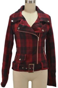 punk rock pinup wool blend motorcycle jacket - red plaid - FINAL SALE | le bomb shop