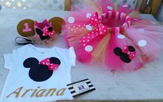 Pink and gold Minnie mouse birthday outfit 3 piece - AlessandrasLittleBow Minnie Mouse Onesie, Minnie Mouse Birthday Outfit, Minnie Mouse Pink, Minnie Mouse Party, Mickey Mouse, Mouse Outfit, Gold Birthday, 1st Birthday Girls, 2nd Birthday Parties