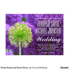 Shop Pretty Purple and Green Flower Wedding Invitations created by CountryWeddings. Purple Invitations, Wedding Invitations Online, Country Wedding Invitations, Wedding Invitation Templates, Custom Invitations, Invitation Cards, Wedding Cake Fresh Flowers, Country Wedding Cakes, Green Flowers