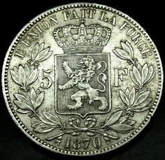 1870 BELGIUM 5 Francs Silver LEOPOLD II Crown Size Coin in AMAZING SHAPE!