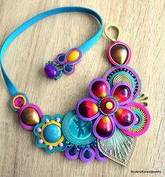 Soutache necklace Soutache Necklace, Earrings, Cabochons, Fuchsia, Hand Painted Ceramics, Violet, Natural Leather, Shibori, Beadwork