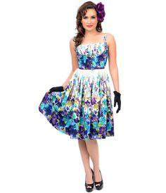 1950s Authentic Vintage Purple & Blue Watercolor Shelf Bust Party Dress