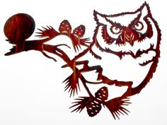 "22"" Owl, Moon, and Pine Cone Wall Art www.rusticeditions.com"