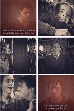 I love that Harry and Hermione are honestly JUST FRIENDS.<<< Not just friends, they think of each other as the siblings they never had.