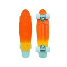 """Penny Complete Skateboards Neptune 22"""" : The Neptune fade available in the original 22"""" penny size, features the cool blue hues from the Summer sky and the warm orange and yellow shades of the sun. No"""