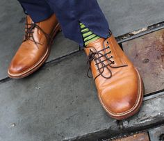 London Fashoin Week Street Style - The Jigsaw Blog, split front trousers, green stripe socks and tan leather shoes