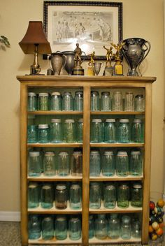 Cool idea for storing all those mason jars!  It would work great for displaying finished jars as well...