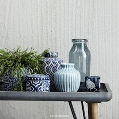 Lene Bjerre SPRING|SUMMER 16 - hand made and hand decorated vases and jars. Beautiful blues.