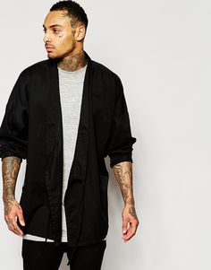 Image 1 ofASOS Military Kimono with Tie Front and Long Sleeves